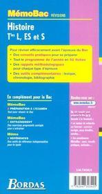 Memo Bac ; Revisions ; Histoire ; Terminale L Es S - 4ème de couverture - Format classique