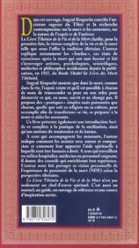 Le livre tibetain de la vie et de la mort - 4ème de couverture - Format classique