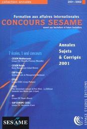 Sesame ; Annales Du Concours 2001-2002 - Intérieur - Format classique