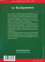 Le Backgammon : Strategies Et Tactiques - 4ème de couverture - Format classique