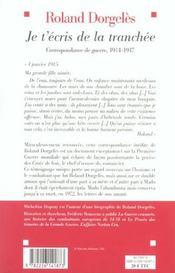 Je t'écris de la tranchée ; correspondance de guerre, 1914-1917 - 4ème de couverture - Format classique