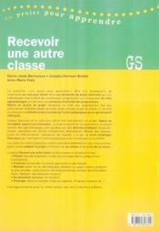 Recevoir une autre classe ; gs - 4ème de couverture - Format classique