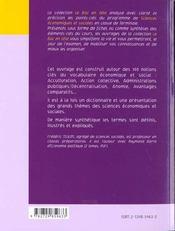 100 Mots-Cles En Sciences Economiques Et Sociales - 4ème de couverture - Format classique