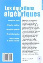 Les equations algebriques ; aborder les inconnues - 4ème de couverture - Format classique