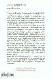 Moeurs europeennes - 4ème de couverture - Format classique