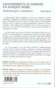 Changements Au Feminin En Afrique Noire Anthropologie Et Litterature T.2 ; Litterature - 4ème de couverture - Format classique