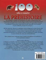100 Infos A Connaitre ; La Préhistoire - 4ème de couverture - Format classique