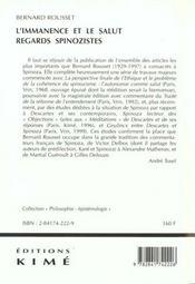 Immanence et le salut (l') - 4ème de couverture - Format classique