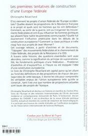 Les premieres tentatives de construction d'une europe federale - des projets de la resistance au tra - 4ème de couverture - Format classique