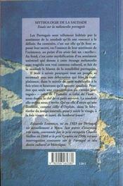 Mythologie de la saudade ; essais sur la mélancolie portugaise - 4ème de couverture - Format classique