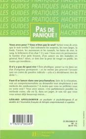 Pas De Panique: Manuel A L'Usage Des Phobiques. Des Angoisses Et Des Peureux - 4ème de couverture - Format classique