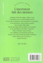 L'Ascenseur Fait Des Siennes - 4ème de couverture - Format classique