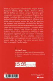 Résistances intellectuelles; les combats de la pensée critique - 4ème de couverture - Format classique