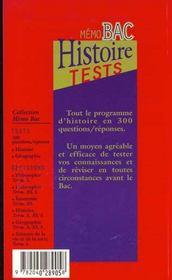 Les Tests D'Histoire - 4ème de couverture - Format classique