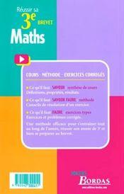 Maths 3e - 4ème de couverture - Format classique