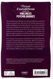 Manuel d'auto-défense contre les violences psychologiques - 4ème de couverture - Format classique