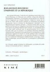 Jean jacques rousseau l'individu et la republique - 4ème de couverture - Format classique