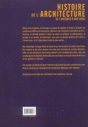Histoire de l architecture - 4ème de couverture - Format classique
