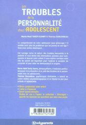 Les Troubles De La Personnalite Chez L'Adolescent - 4ème de couverture - Format classique