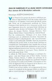 Jean de fabregues et la jeune droite catholique aux sources de la revolution nationale - 4ème de couverture - Format classique