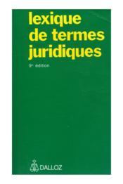 Lexique De Termes Juridiques - Couverture - Format classique