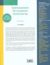 Interessement. participation. actionnariat - 3e ed. - 4ème de couverture - Format classique