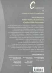 Constitution et construction européenne - 4ème de couverture - Format classique