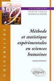 Methode Et Statistique Experimentales En Sciences Humaines - Intérieur - Format classique