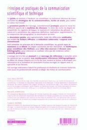 Principes et pratiques de la communication scientifique et technique - 4ème de couverture - Format classique