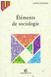 Elements De Sociologie - Intérieur - Format classique
