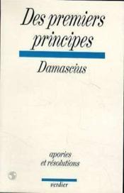 Des Premiers Principes - Couverture - Format classique
