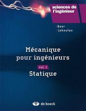 Mécanique pour ingénieurs t.1 ; statique - Couverture - Format classique