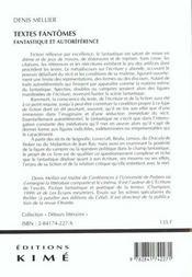 Textes fantomes - 4ème de couverture - Format classique