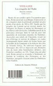 Histoire romaine ; livre VI à X ; la conquête de l'Italie - 4ème de couverture - Format classique