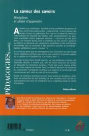 La saveur des savoirs ; disciplines et plaisir d'apprendre - 4ème de couverture - Format classique