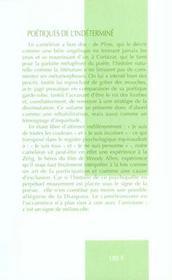 Poetiques De L'Indetermine. Le Cameleon Au Propre Et Au Figure - 4ème de couverture - Format classique