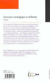 Annuaire strategique et militaire 2002 - 4ème de couverture - Format classique