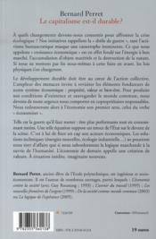 Le capitalisme est-il durable ? - 4ème de couverture - Format classique