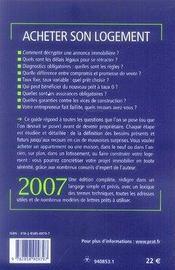 Acheter son logement (édition 2007) - 4ème de couverture - Format classique