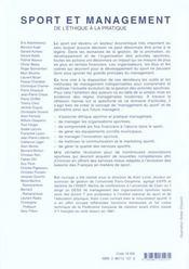 Sport et management ; de l'éthique à la pratique - 4ème de couverture - Format classique