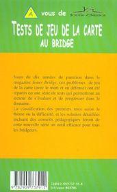 Tests de jeu de la carte au bridge - 4ème de couverture - Format classique