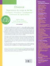 Divorce ; Separations De Corps Et De Fait ; Conditions, Procedure, Consequences, Contentieux (19e Edition) - 4ème de couverture - Format classique