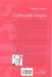 La nouvelle origine ; la france matrice d'une autre modernité - 4ème de couverture - Format classique