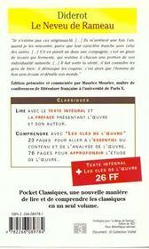 Le neveu de Rameau - 4ème de couverture - Format classique