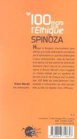 Cent mots sur l'ethique de spinoza - 4ème de couverture - Format classique