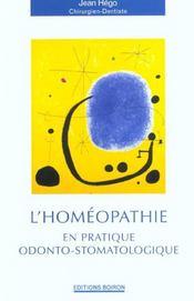 L'Homeopathie En Pratique Odonto-Stomatologique - Intérieur - Format classique