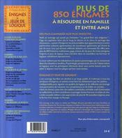 Énigmes et jeux de logique ; à résoudre en famille et entre amis (édition 2007) - 4ème de couverture - Format classique
