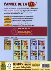 L'ANNEE DE ; l'annee de la terminale es - 4ème de couverture - Format classique