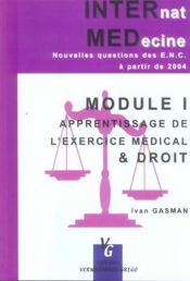 Module 1 ; apprentissage de l'exercice médical et droit - Intérieur - Format classique