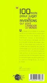 Cent mots pour juger les inventions qui vont changer le monde - 4ème de couverture - Format classique